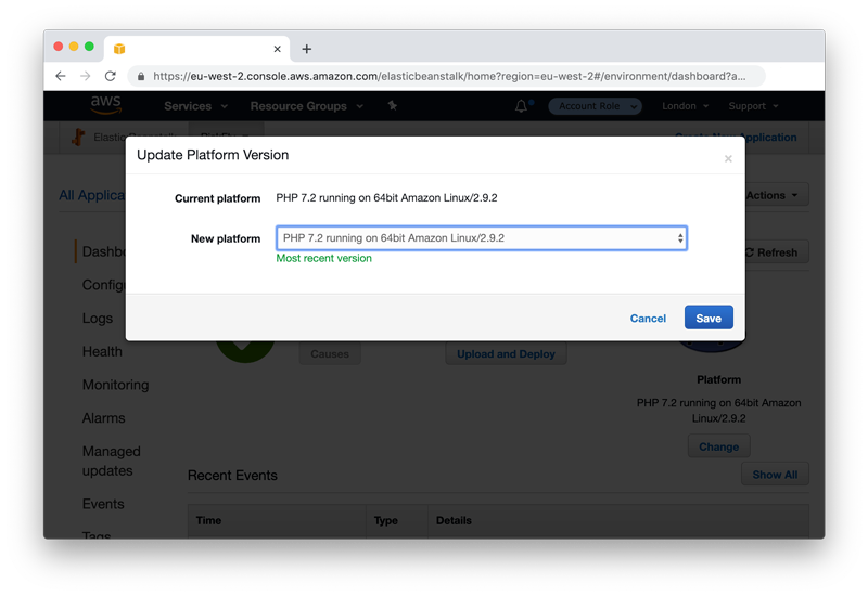 Screenshot of AWS Elastic Beanstalk console, chosing platform version